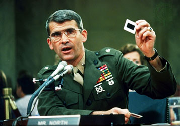 Oliver North testifying before Congress